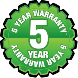 A 5 Year Warranty Sticker.